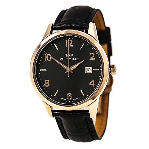 GLYCIN 3925 29 Herren Classic schwarz Zifferblatt Rose Gold Stahl schwarz Lederband Armbanduhr