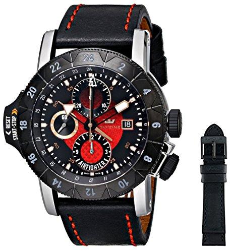 Glycine Airfighter Automatik Uhr Rot Chronograph PVD 3921 16 LB96B