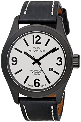 Glycine Incursore Automatic Black PVD Steel Mens Strap Swiss Watch Calendar 3874 91 LB9B