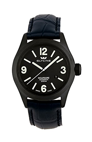 Glycine Incursore Automatic PVD Coated Steel Mens Watch Black Dial Calendar 3874 99T LBK9