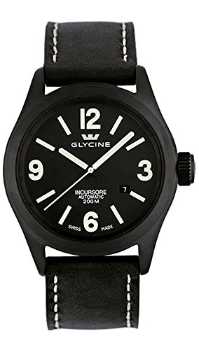 Glycine Incursore Automatic PVD Coated Stainless Steel Mens Strap Watch Black Dial Calendar 3874 99T
