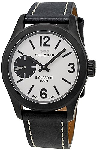 Glycine Incursore Manual Wind Black PVD Steel Mens Strap Swiss Watch 3873 91 LB9B