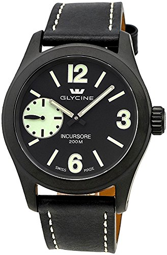 Glycine Incursore Manual Wind Black PVD Steel Mens Strap Swiss Watch 3873 99SL LB9B
