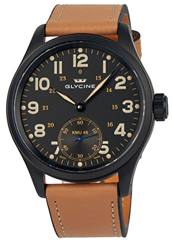 Glycine KMU 48 Kriegs Marine Uhren Manual Wind Black PVD 3906 99AT LB33