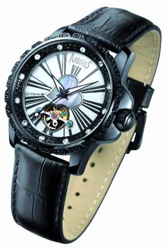 Arbutus Damen-Armbanduhr Analog automatik leder schwarz AR409BWB