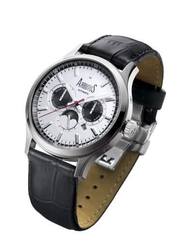 Arbutus Herren-Armbanduhr Analog Automatik Leder Schwarz AR509SWB
