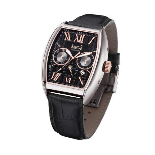 Arbutus New York Herren Automatik Uhr ar611 schwarz Zifferblatt Lederband schwarz