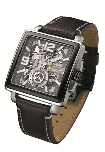 Arbutus New York Gents Hand Uhr AR710 Skelett Zifferblatt Lederband schwarz