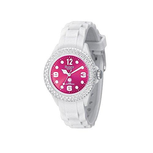 Silikon Armbanduhr klassisch weiss Rosa Scheibenuhr mit Kristalle von Swarovski Sunny Watch