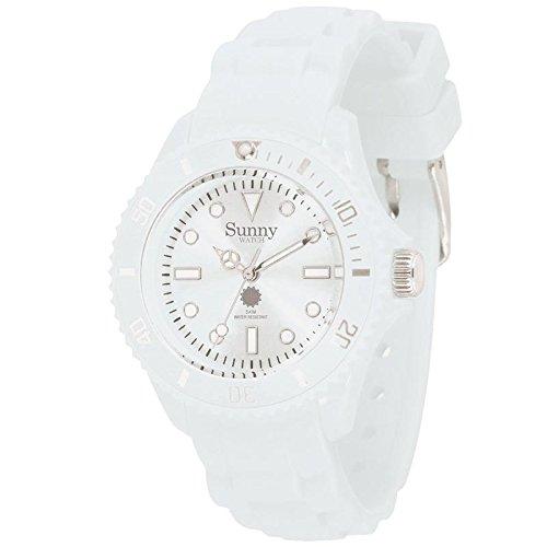 Silikon Armbanduhr klassisch weiss und Klein Sunny Watch
