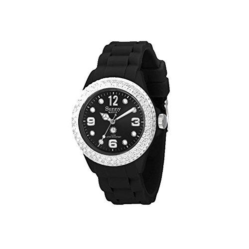 Silikon Armbanduhr Schwarz mit Kristalle von Swarovski Sunny Watch