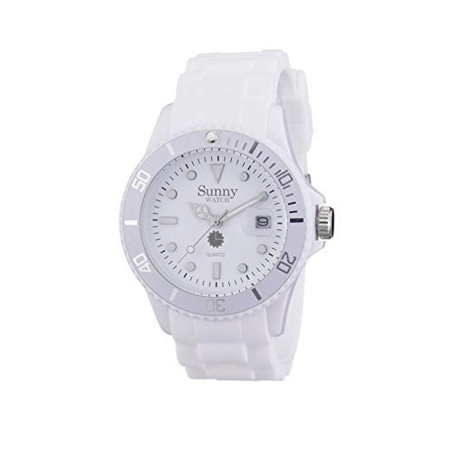 Silikon Chronograph Armbanduhr klassisch weiss Sunny Watch