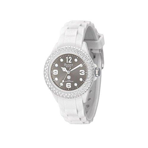 sunny watch Zeigt Silikon Wasserdicht Sunny Watch Kristallen Swarovski weiss Zifferblatt blau