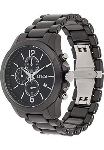 CHRIST times Herren-Armbanduhr Keramik Analog Quarz One Size, schwarz, schwarz