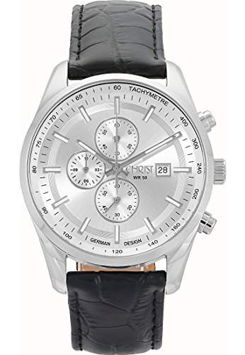 CHRIST times Herren-Armbanduhr Analog Quarz One Size, silberfarben, schwarz