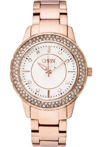 CHRIST times Damen-Armbanduhr Analog Quarz One Size, silber, rosésilber