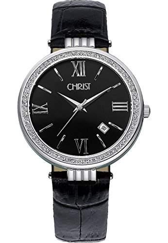 CHRIST times Damen-Armbanduhr Analog Quarz One Size, schwarz, schwarzsilber