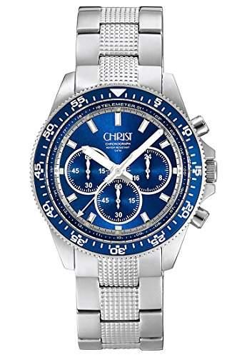 CHRIST times Herren-Armbanduhr Analog Quarz One Size, blau, silber