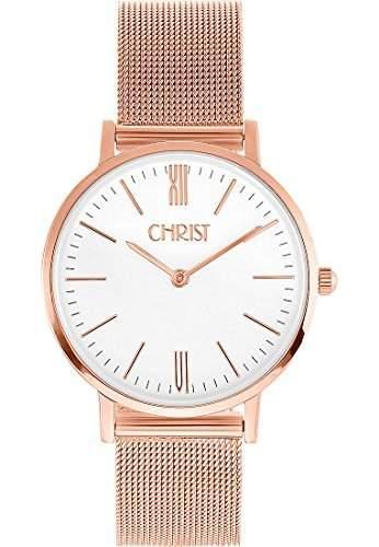 CHRIST times Damen-Armbanduhr Analog Quarz One Size, weiss, blaubeigebraunweiss