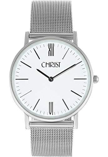 CHRIST times Herren-Armbanduhr Analog Quarz One Size, weiss, grauschwarzblauweiss