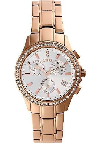 CHRIST times Damen-Armbanduhr Analog Quarz One Size, schwarz, rosé