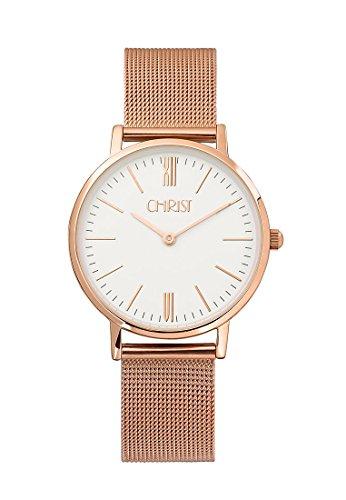 CHRIST times Damen Armbanduhr Analog Quarz One Size weiss rose