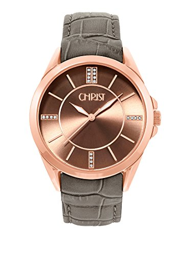 CHRIST times Damen Armbanduhr Analog Quarz One Size braun taupe