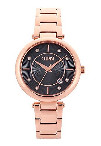 CHRIST times Damen Armbanduhr Analog Quarz One Size braun rose braun