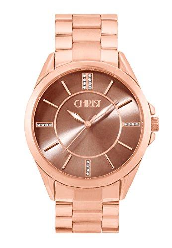 CHRIST times Damen Armbanduhr Analog Quarz One Size taupe rose