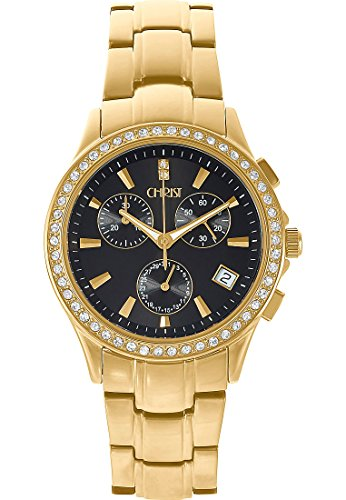 CHRIST times Damen Armbanduhr Analog Quarz One Size schwarz gold