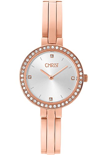 CHRIST times Damen Armbanduhr Analog Quarz One Size silber rose