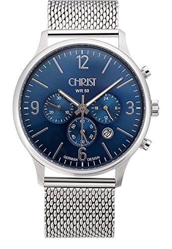 CHRIST times Herren Armbanduhr Analog Quarz One Size blau silber