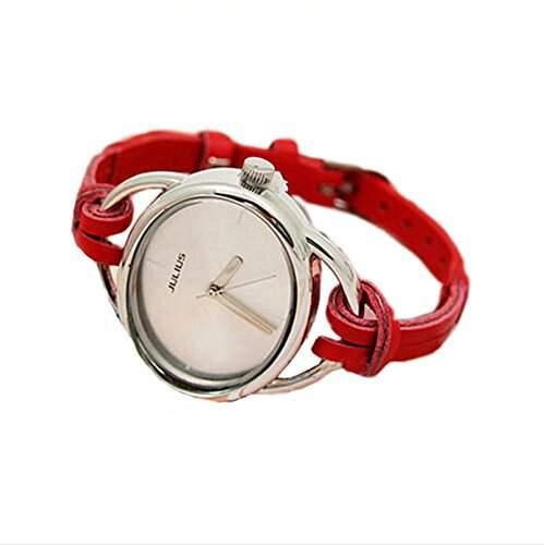 DAYAN Lederband Golduhr Luxury Brand-Frauen-Armbanduhr-handgestricktes New Fashion & Kinderuhren-rot
