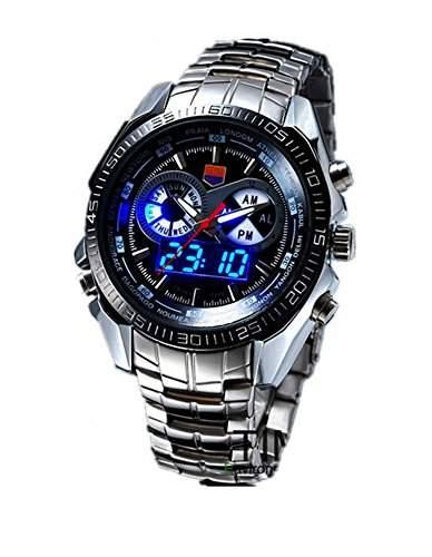 DAYAN Hight Qualitaets-Edelstahl-schwarzen Maenner Clock Mode blaue Zweiheit-LED Pointer Uhrmens 30AM Wasserdicht Uhren