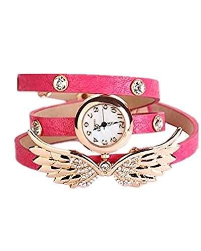 DAYAN 2015 Weinlese-Lederband-Engels-Fluegel-Armband-Armbanduhr Rose Red