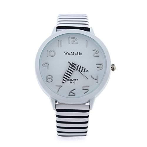 DAYAN Fashion WaMaGe beilaeufige Uhr Zebra-Buegel-Armbanduhr-Sport-Uhr-Frauen-Kleid-Uhr Weiss
