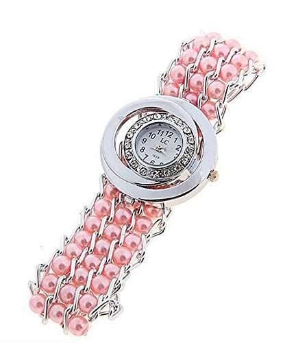 DAYAN Frauen Maedchen Simulierte Perlen Band Quarzuhr Strass Armbanduhr Weiss
