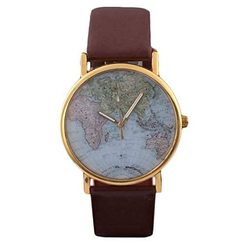 DAYAN Unisex Elegante Retro Old Classic Luxury World Map-Armband Quarz-Armbanduhr mit Lederband Farbe Braun