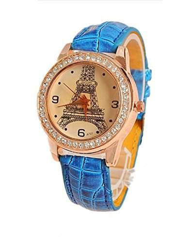 DAYAN Neue Kristall-Eiffelturm-Dame Women Girls Leder-Quarz-Armbanduhr-Geschenk blau