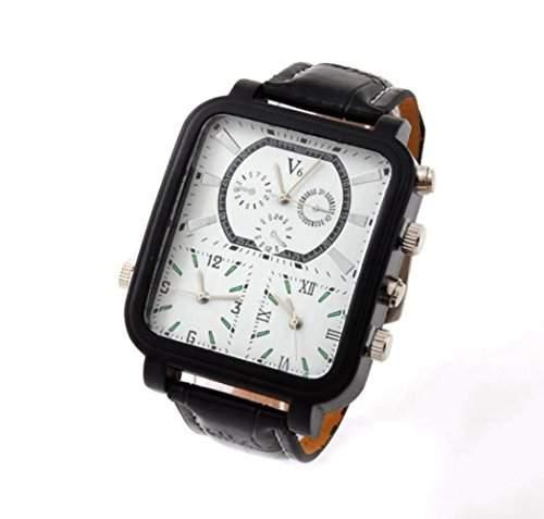 DAYAN Neue Art-V6 Big Rectangle-Quarz-Maenner Armbanduhr mit 3 Zeitzone 3 Bewegen Edelstahl Band weiss