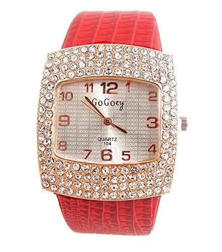 DAYAN Arbeiten Sie Kristall Kleid-Quarz-Uhr-Frauen-Qualitaets-Armbanduhren rot