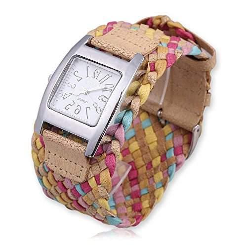 DAYAN Fashion-Suessigkeit-Farben flocht geflochtenes Seil-Buegel-Verpackungs-Quarz Dame Armbanduhr - pink