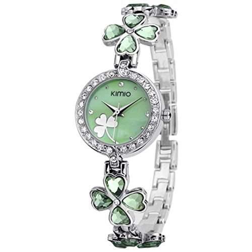 DAYAN Damen Quarz Armband Armbanduhr glueckliche Gras-Blumen-Diamant-Armbanduhr Taegliches Edelstahl Gruen