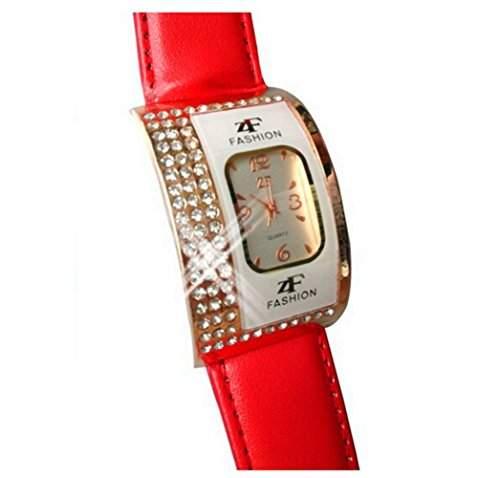 DAYAN Rose Gold Uhr Frauen Mode Kristall Leder Quarz Uhr Dame Uhren pink