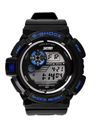 DAYAN Maenner Sportuhren Military-Uhr-beilaeufige Digitaluhr LED-Multifunktions-Armbanduhr-50M wasserdichte Kursteilnehmer Uhr Blau