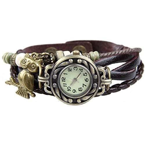 DAYAN Frauen-Eulen-haengende nette Weave Lederguertel Holz-Korn-Armband-Uhr - Kaffee