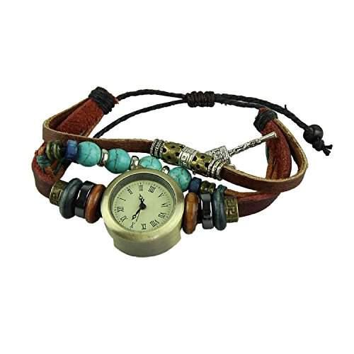 DAYAN Echtes Leder-Kuh-Leder-Uhren mit Tuerkis Retro Wenig Hammer-Kleid-Uhr fuer Frauen