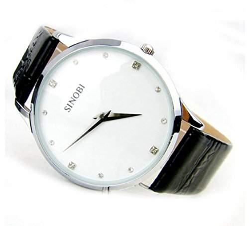 DAYAN Lederband Uhr fuer Damen und Herren Mode Quarz Militaer wasserdichte Armbanduhr - Weiss