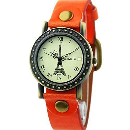 DAYAN Fashion Damenuhr Eiffelturm Oberflaechen Quartz Lederarmband Armband Armbanduhr - Orange