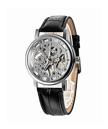 DAYAN Herren Schwarz-Leder-Band Luxus Skeleton Selbst wickeln oben mechanische automatische Uhr
